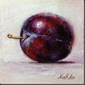"""Fancy Plum 2. oil on canvas panel 6x6 inches"" - Original Fine Art for Sale - © Nina R. Aide"