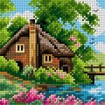 Houses cross stitch.