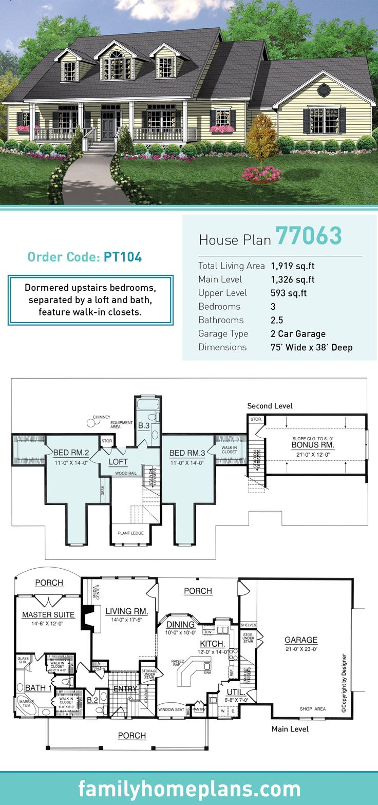 Country house plan 77063