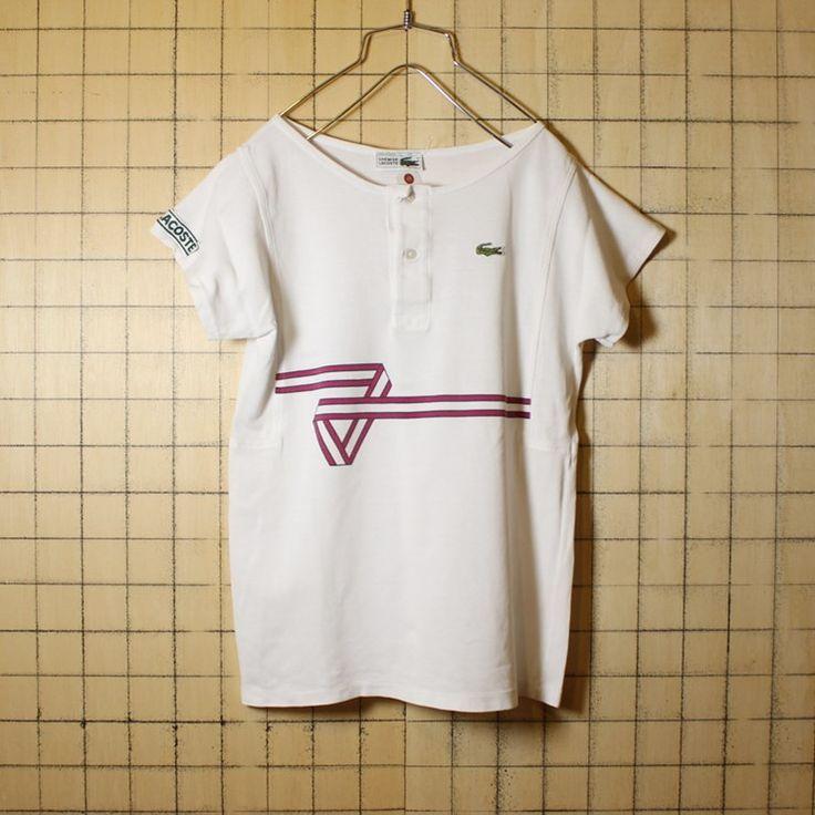 古着 フランス製 70s フレンチラコステ Lacoste ワンポイント 鹿の子 プリント Tシャツ カットソー 半袖 ホワイト サイズ38 レディースM相当