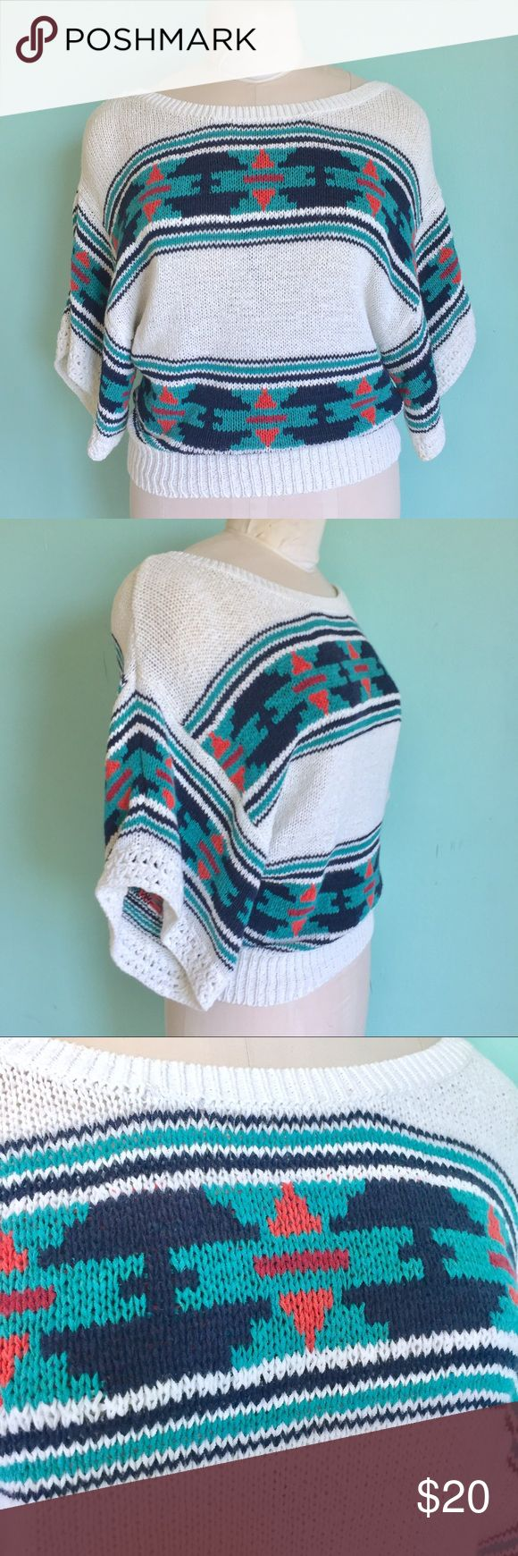 Aztec Tribal Print Sweater Quarter Sleeves Up for Sale In good preowned condition Sweater by American Eagle. Size S. Check out my closet, bundle and give me your offer! 💚 American Eagle Outfitters Tops