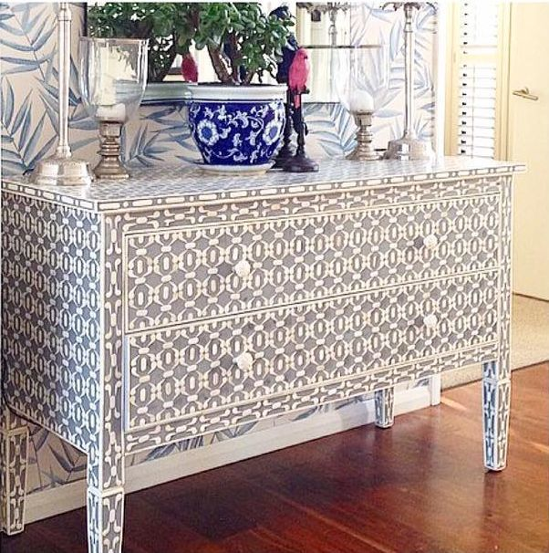 Grey bone inlay console table, chest of drawers