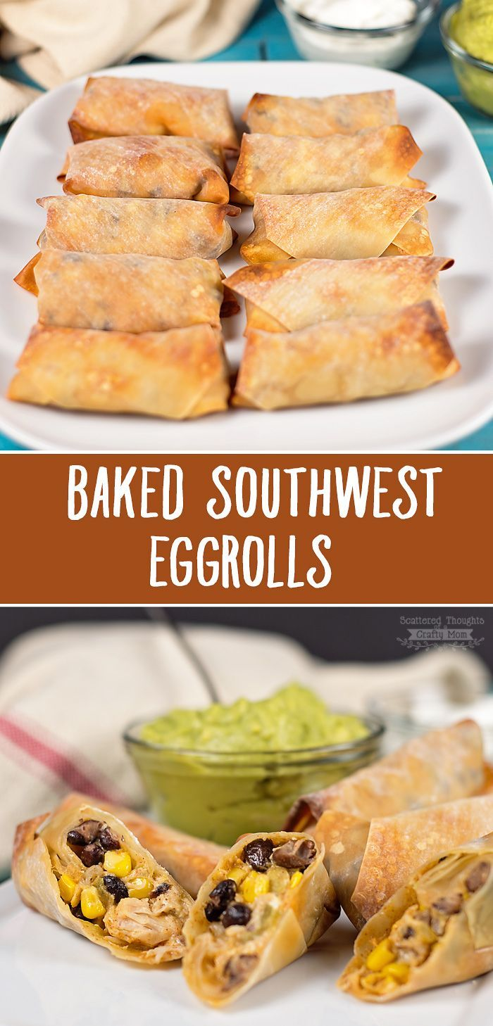 These easy Baked Southwest Eggrolls are the perfect finger food for parties, game day get togethers or even as a quick dinner for the family!