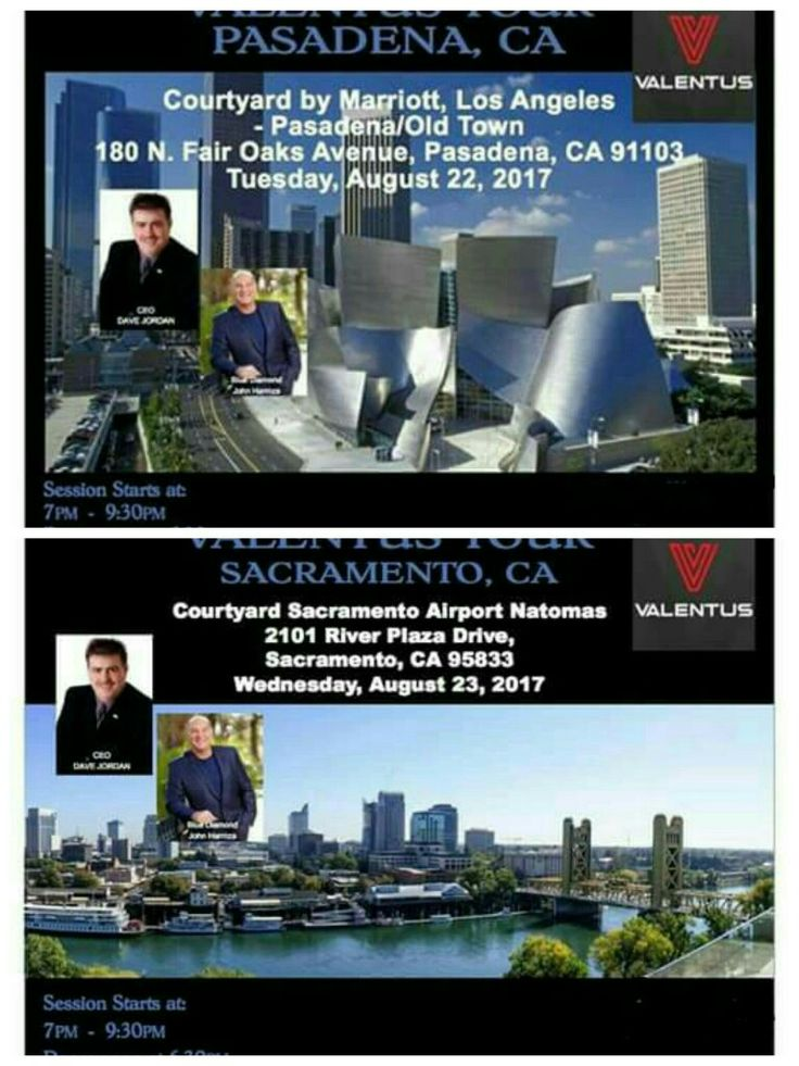 ☆☆☆ Attention all in the Southern California Area! ☆☆☆   Touring Southern California!  Please join and meet our CEO Dave Jordan and Blue Diamond John Haremza as they embark on the first ever California tour. Mark your Calendar. August 22- Pasadena, CA  August 23- Sacramento, CA Its a date you don't want to miss.  and YES, This is a FREE Event. www.kjensifyme.Valentustour.com  #tour dates #valentusteambuild #valentusworks #valentusglobal #freeconferences #valentusworldwide