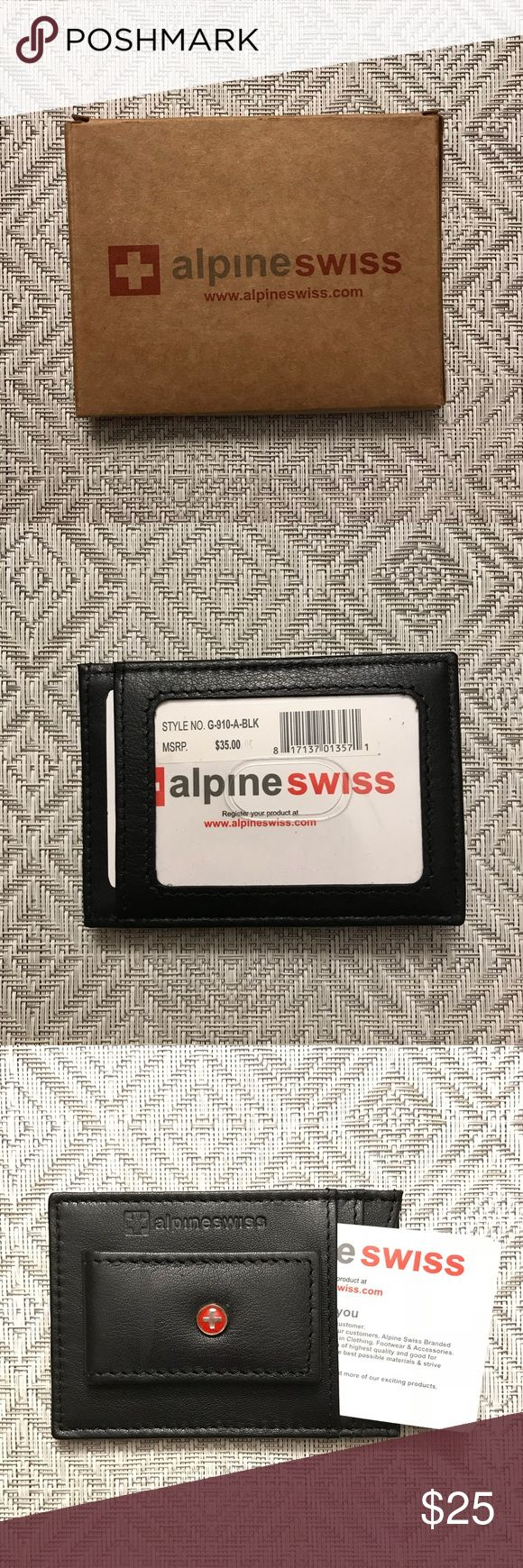 Men's Wallet / Money Clip / Card Holder Brand new never used alpine Swiss card holder in soft, black leather. Money clip on front with cross logo and slots for three cards. Clear ID slot on back. Alpine Swiss Accessories Key & Card Holders