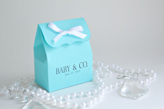 Tiffany Blue Baby Shower Favor Bags with Ribbon by SosiaToGo