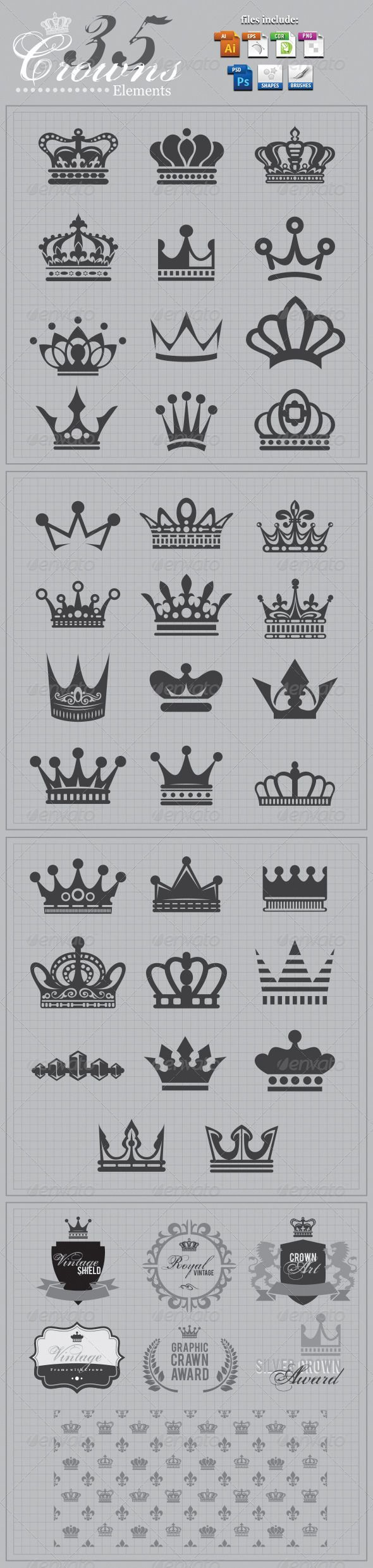 Crowns Elements v2 — Photoshop PSD #kingdom #crowns • Available here → https://graphicriver.net/item/crowns-elements-v2/3831884?ref=pxcr