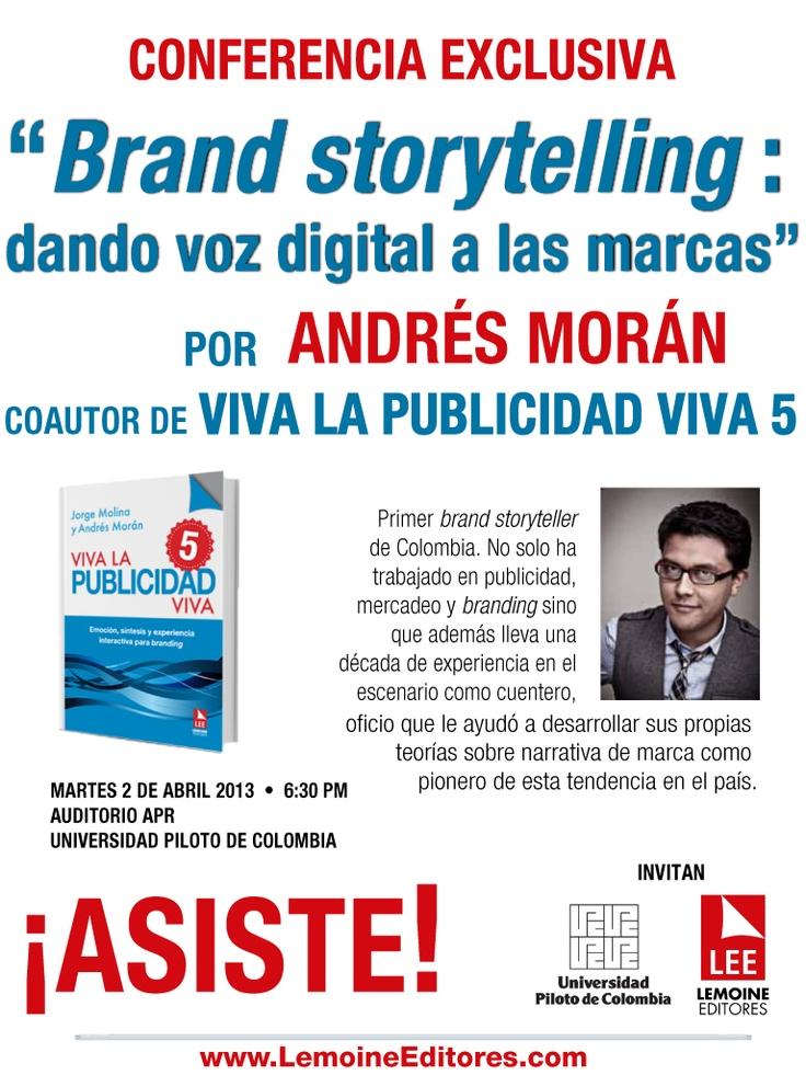 Hoy con Andrés Morán en la U.Piloto de Colombia a las 6:30pm hablando sobre Branding Digital en el auditorio APR
