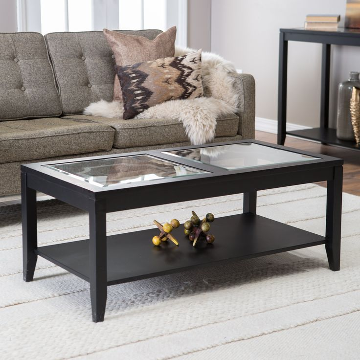 Shelby Glass Top Coffee Table with Quatrefoil Underlay - For a simple yet bold statement in your living or family room, take a look at the clean lines of the Shelby Glass Top Coffee Table with Quatrefoil...