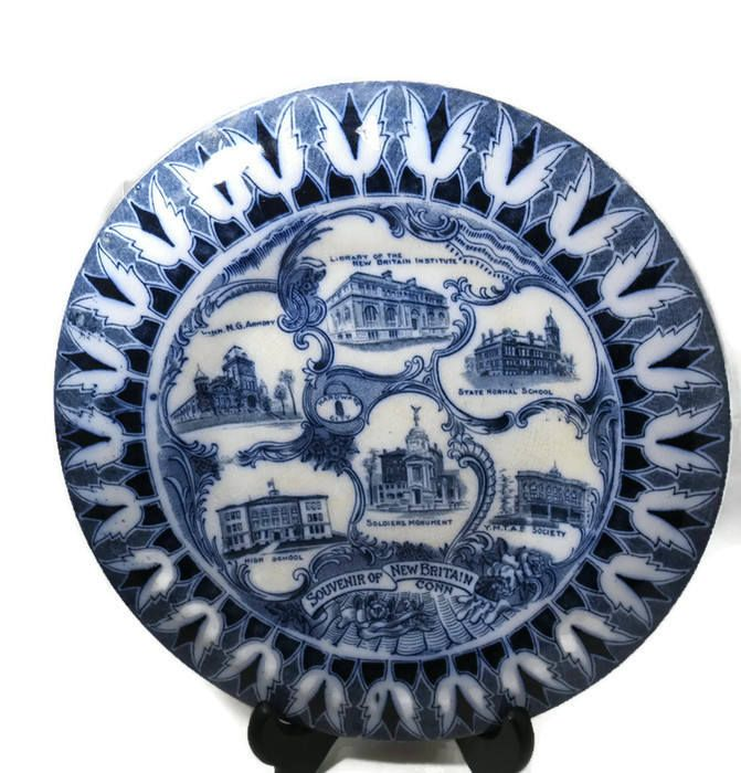 Antique New Britain Connecticut Plate -  Souvenir English Staffordshire Flow Blue, Soldiers Monument, New Britain Institute, YMTAB Society by Duckwells on Etsy