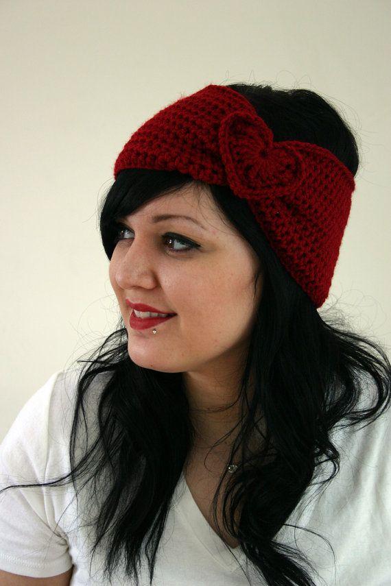 The Sweetheart Headband  Crocheted Winter Headband by susannahbean