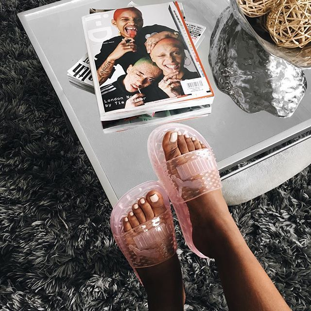Jelly game strong  Glad I got my hands on the #fentyxpuma jelly slides! Just in time for vacay! @puma #ad