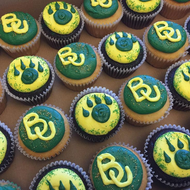 Baylor University BU green and gold cupcakes