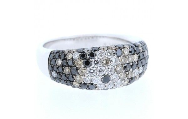 18ct white gold dome ring, set with 67 black diamonds, 28 champagne diamonds and 20 white diamonds, in a cluster style.