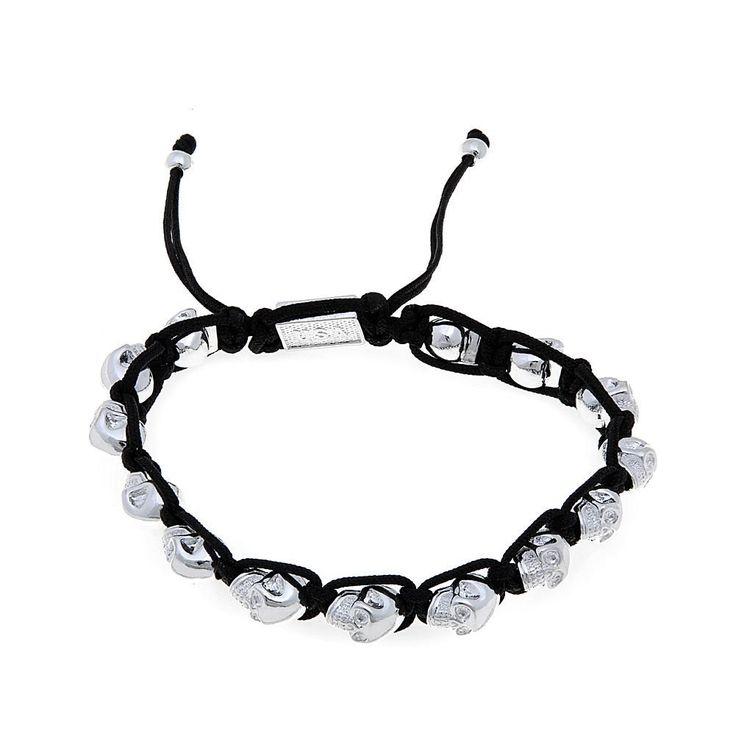 King Baby Jewelry Macrame Silvertone Skulls Bracelet -