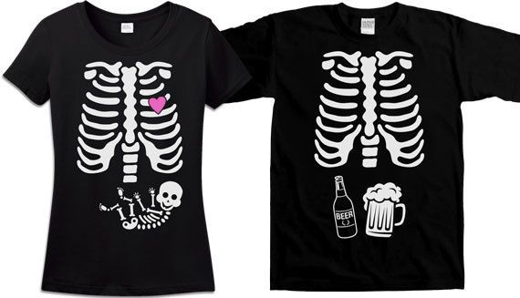 Matching Halloween Couples Shirt Pregnant Skeleton Shirt Halloween Pregnancy Announcement Unisex Skeleton Pregnancy Shirt Men Ladies T34A-36