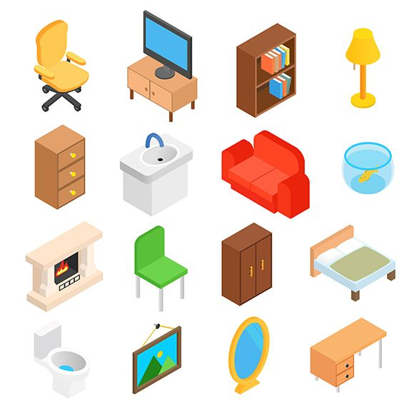 Furniture for living room isometric by Juliars on @creativemarket