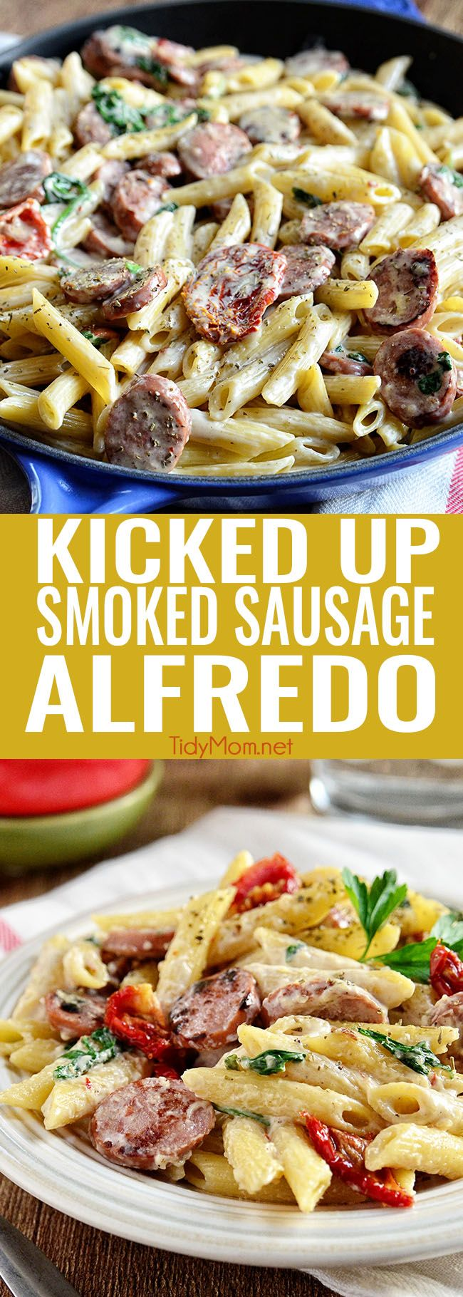 Savory smoked turkey sausage combined with sun-dried tomatoes, garlic, spinach, and Parmesan cheese make this a sensational 15-minute Smoked Sausage Alfredo recipe the whole family will love. Get the full printable recipe at TidyMom.net