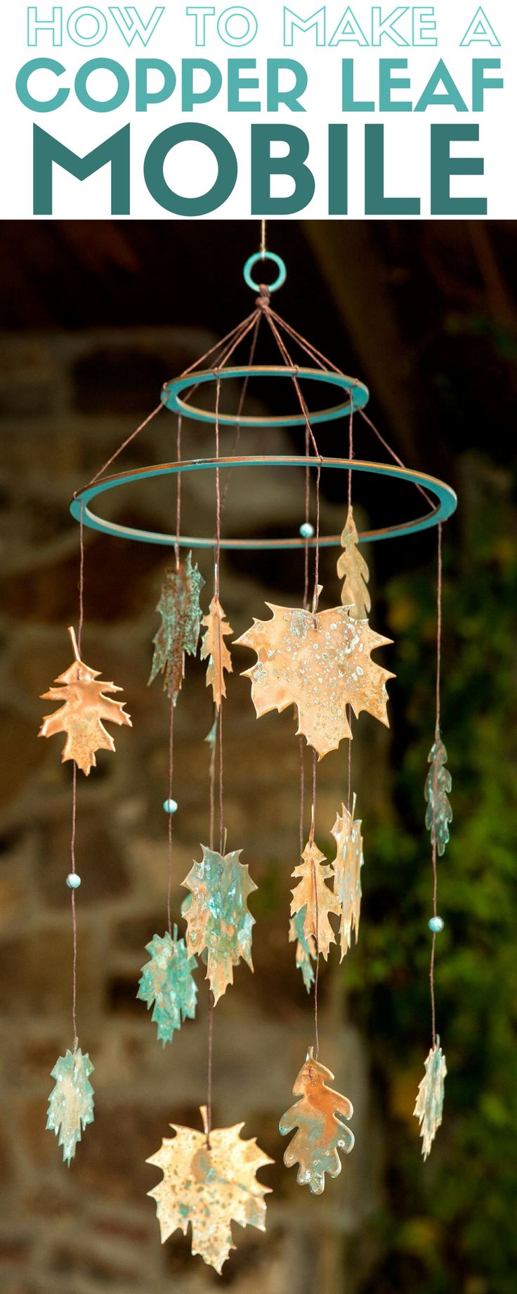 How to make a handmade copper leaf mobile perfect for Fall. The craft kit…