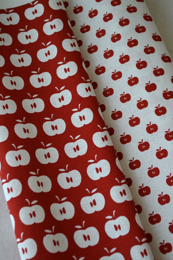 APPLES hand printed fabric quarter by BlueberryAsh on Etsy, $10.00