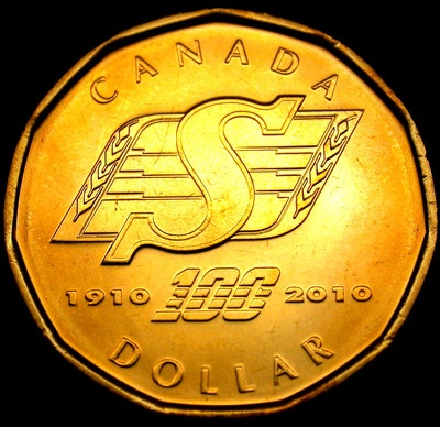 2010 SASKATCHEWAN ROUGHRIDERS 100 Years Commem LOONIE Coin Uncirculated MINT +