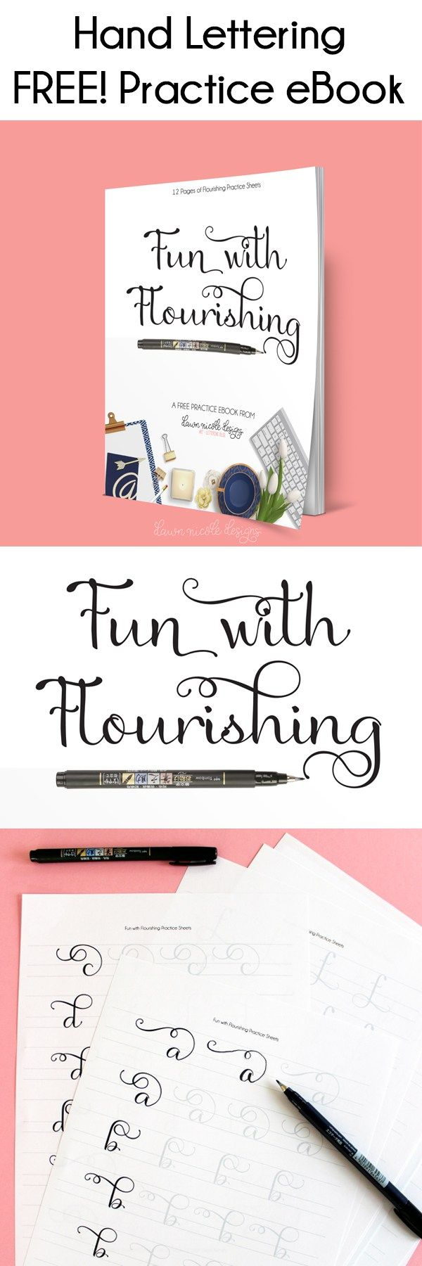 Fun with Flourishing: Free Hand Lettering eBook. Work on your flourishes with the twelve pages of practice sheets in this free eBook! #handlettering