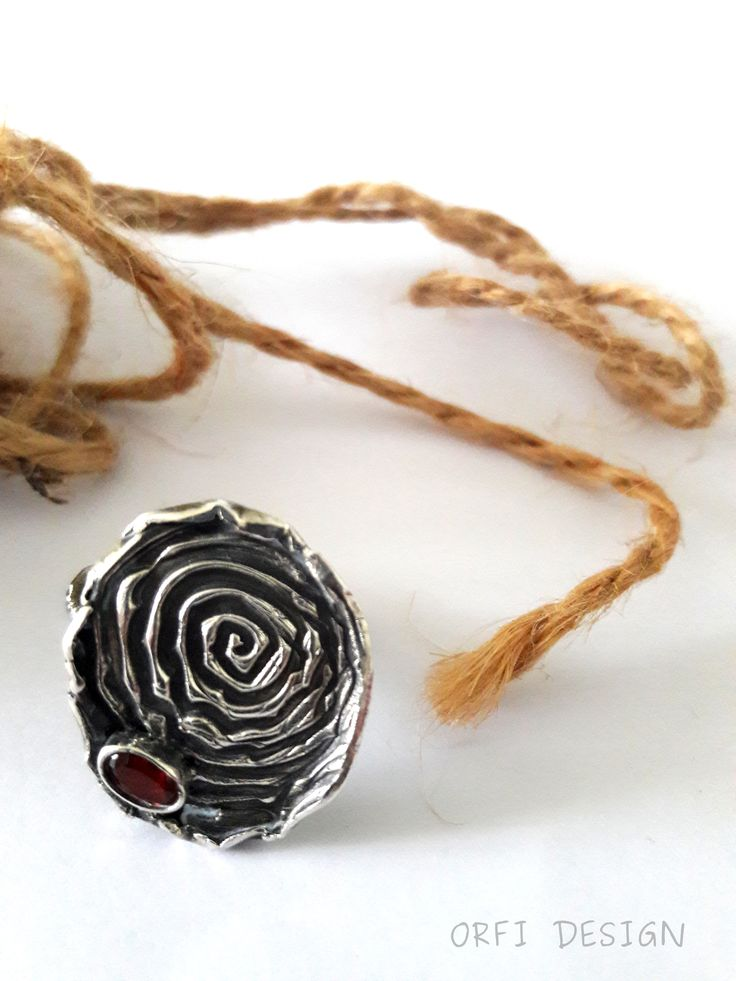 Silver clay ring with garnet,,,bohemian style...
