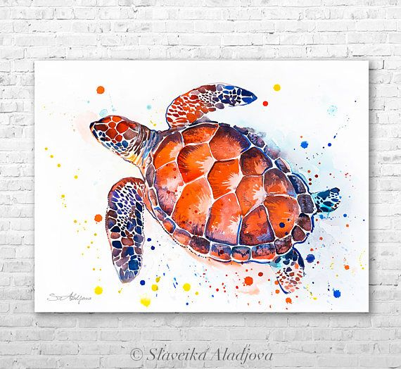 Hawksbill Sea Turtle Watercolor Painting Print By Slaveika
