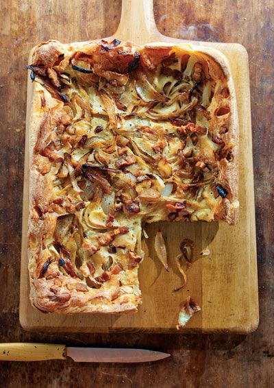 Onion and Bacon Tart: The custardy batter for this dish, a cousin of Yorkshire pudding, puffs like an enormous popover in the oven.