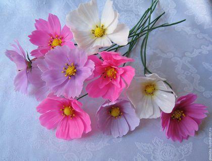 Цветы ручной работы. Ярмарка Мастеров - ручная работа. Купить Яркие цветы Космеи. Handmade. Холодный фарфор, керамическая флористика