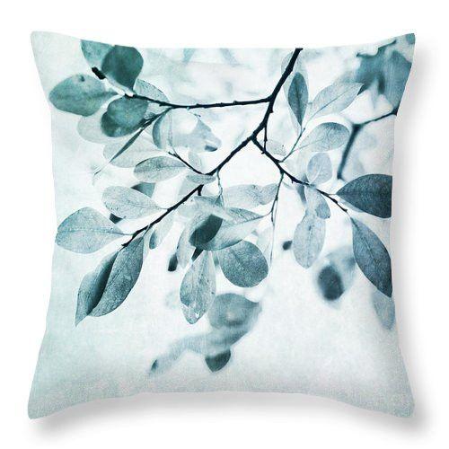 Leaves In Dusty Blue Pillow