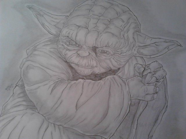 Yoda; Star Wars. Penciled portrait.  Size: 8.5'x11'  For Sale: $20 Free shipping!
