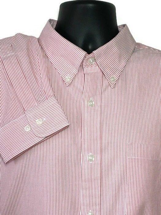 LL Bean Seersucker Shirt XL Tall Traditional Fit Red Striped Long Sleeve Men  New  166604b67