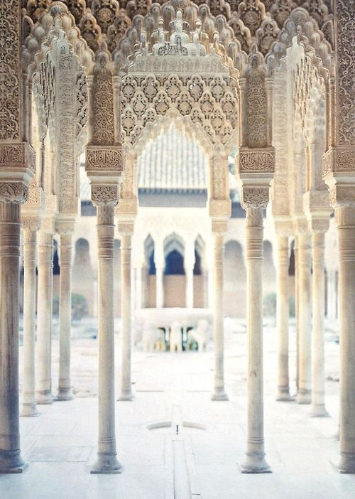 intothegloss:  Court of the Lionsat the Alhambra palace in Granada, Andalusia