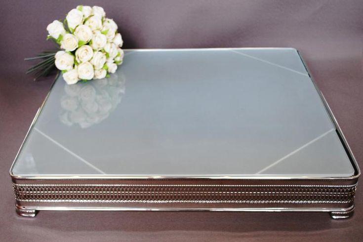 Wedding  Square Frosted Glass 20 inch Cake Stand - Hire - WeddingWish.com.au