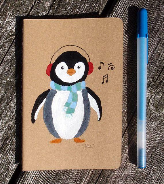 Penguin Hand Painted Notebook  Dream Journal  by KelliMcNicholsArt