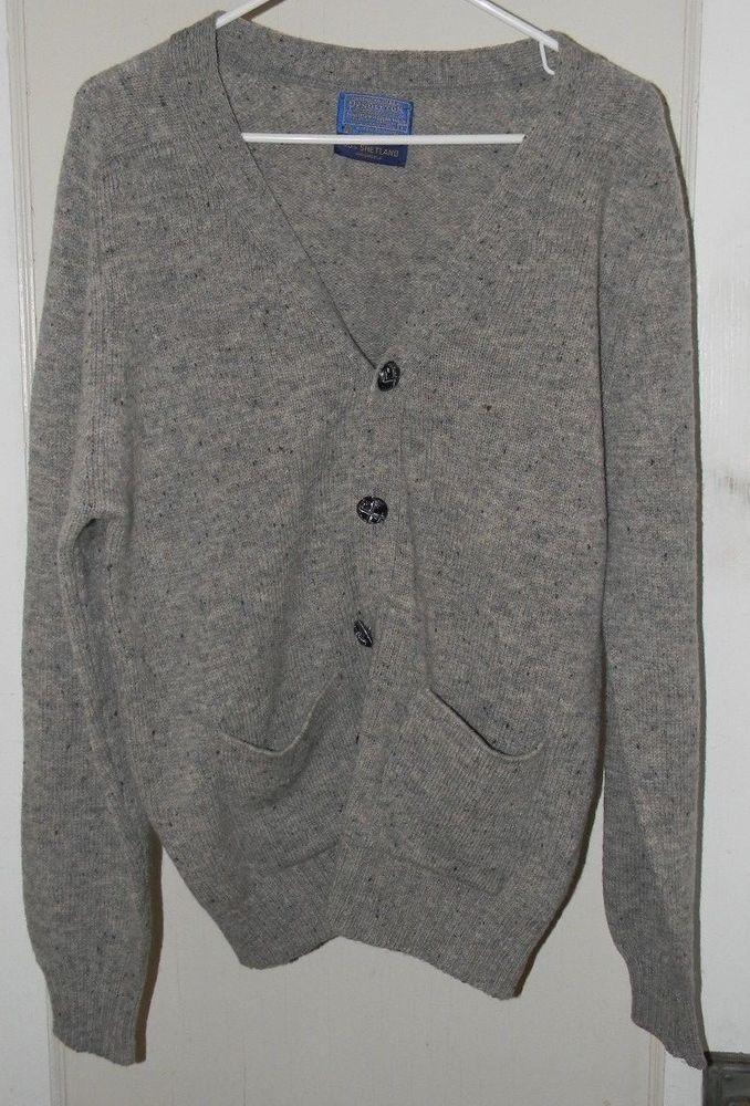 Pendleton Shetland wool gray,blue & Tan speckled mens cardigan sweater sz large  #Pendleton #Cardigan