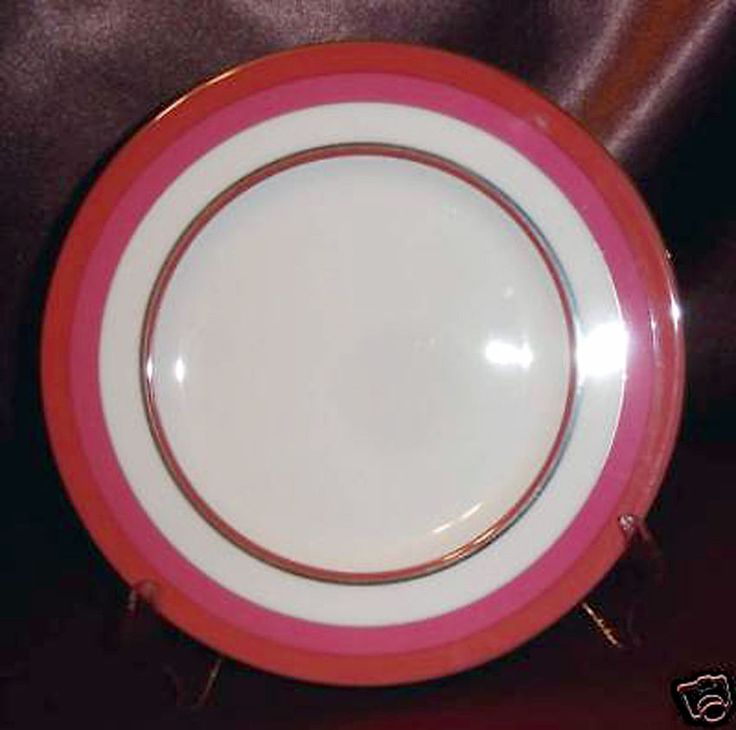 Kate Spade LIBRARY LANE CORAL Accent Luncheon Plate NEW #KateSpadeNewYork
