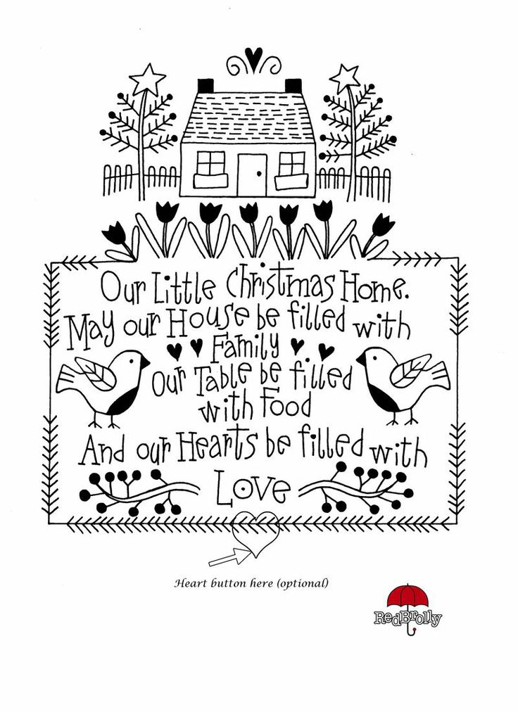 """Christmas Home Embroidery Sampler. by Redrolly. """"Our Little Christmas Home"""", page 2 of 2/graph (heart button at bottom, optional)"""
