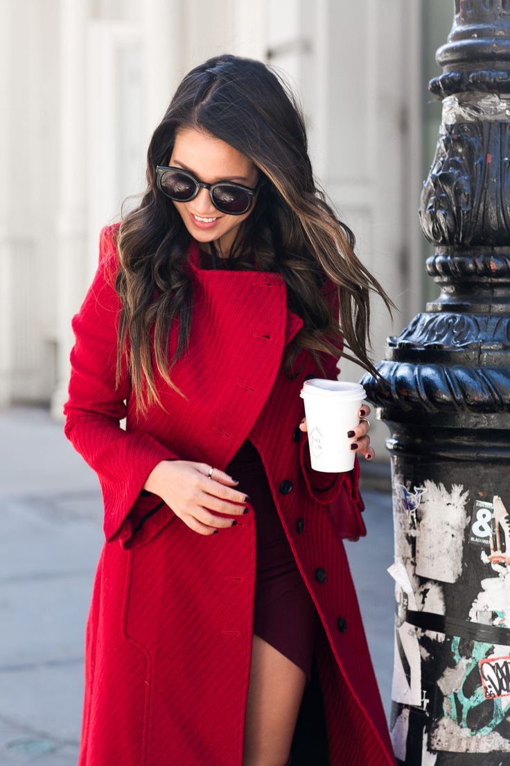 Shades of Wine :: Red long coat & Burgundy boots : Wendy's Lookbook
