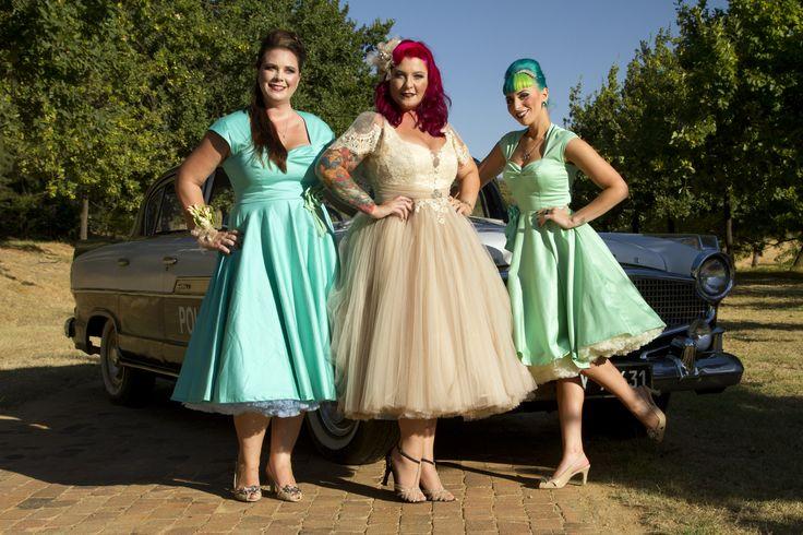 Me and my bridesmaids #Rockabillybride #Rocknrollwedding