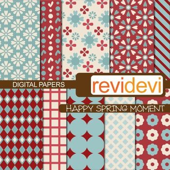 Digital papers in soft blue and maroon colors scheme. Set of 10.  These digital papers are great for teachers and educators for creating their school and classroom projects such as for background for bulletin, announcement, learning worksheet, craft materials, cards, paper goods, and for more fun projects.