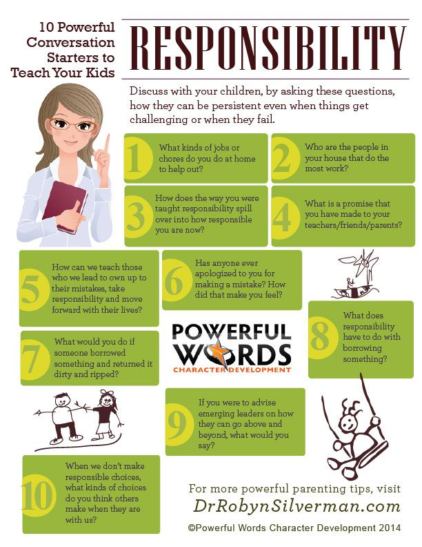 10 Powerful conversation starters to teach you children responsibility. #infographic #drrobyn #powerfulwords http://menloparkmartialarts.com