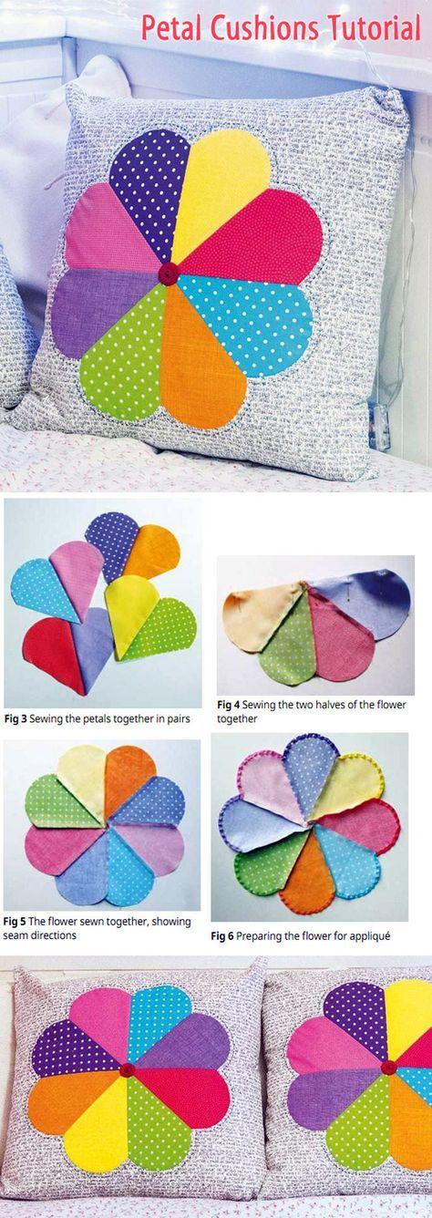 Petal cushions Tutorial. Patchwork http://www.handmadiya.com/2015/03/petal-cushions-patchwork.html