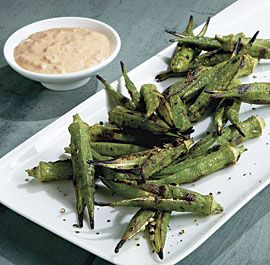 Grilled Okra with Smoked Paprika-Shallot Dip. Does this not scream summer? Love grilled veggies!