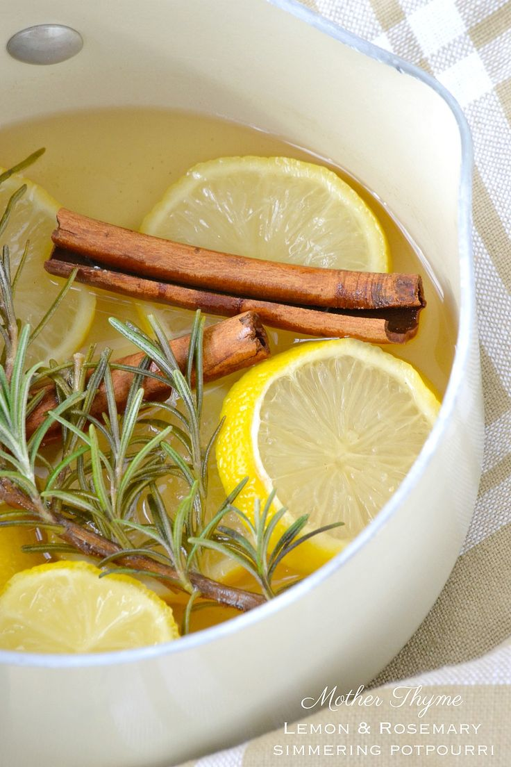 Lemon and Rosemary Simmering Potpourri    1 lemon, sliced  1 large sprig of rosemary  2 cinnamon sticks  1 teaspoon vanilla extract  1-2 cups water