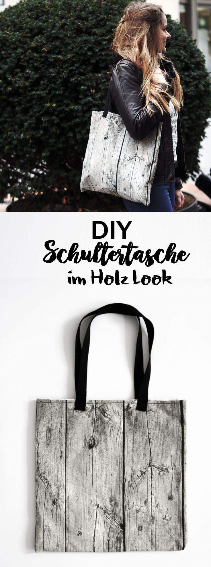 DIY Tasche Schultertasche Holz Look Design IKEA Skandi Design skandinavisch || Bag wood design || handmade || Nähen einfach|| sewing || DIY Mode fashion ideas accessories || Accessoires