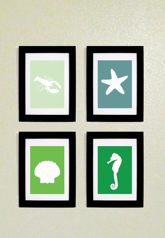 Set of four nautical bathroom prints. Lots of great prints on this website!