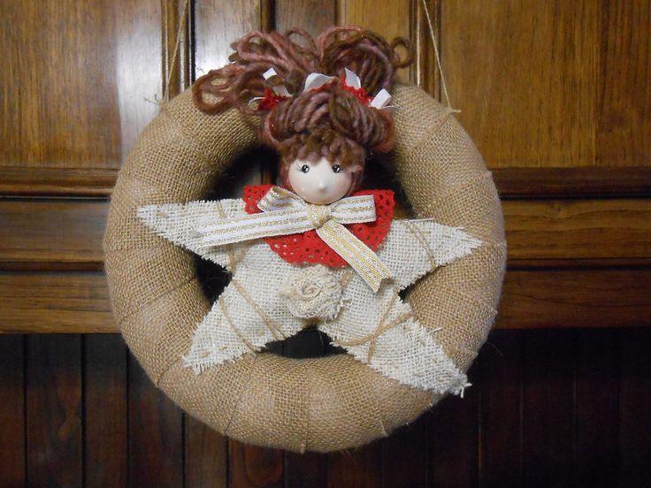 Ghirlanda natalizia d'appendere in tela juta con bambolina stellina , idea regalo., by Le gioie di  Pippilella, 20,00 € su misshobby.com
