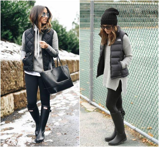 Combinação de colete para o inverno com botas, leggins e casacos cinza! Um gorro como acessório cai super bem também no visual